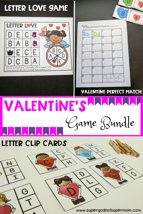 Valentines Letter Games Bundle  Super God Not Super Mom